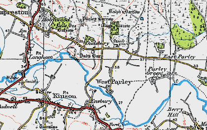 Old map of West Parley in 1919