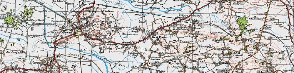 Old map of West Pennard in 1919