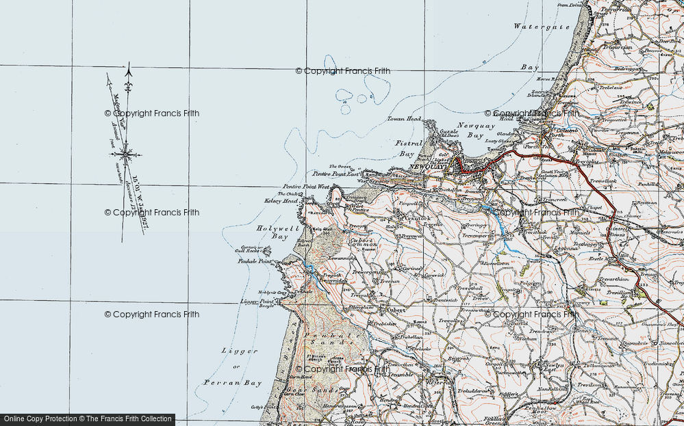 Old Map of West Pentire, 1919 in 1919