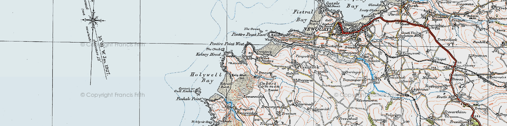 Old map of West Pentire in 1919