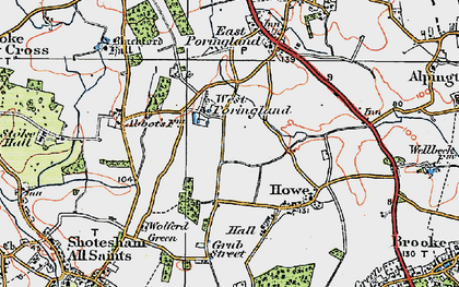 Old map of West Poringland in 1922