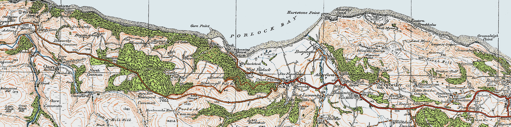 Old map of West Porlock in 1919