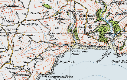 Old map of West Portholland in 1919