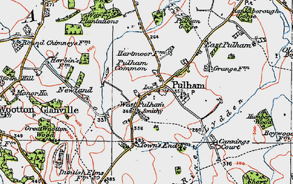 Old map of West Pulham in 1919