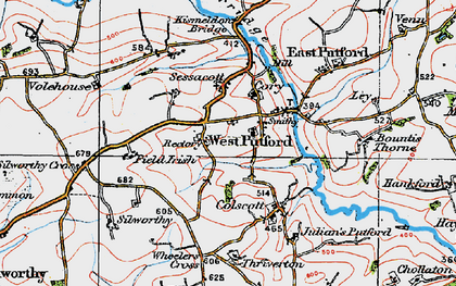 Old map of West Putford in 1919