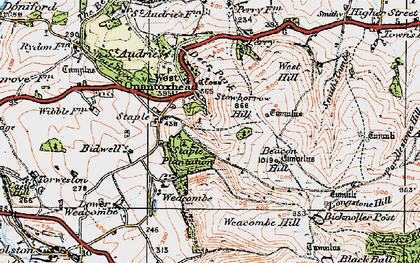 Old map of West Quantoxhead in 1919