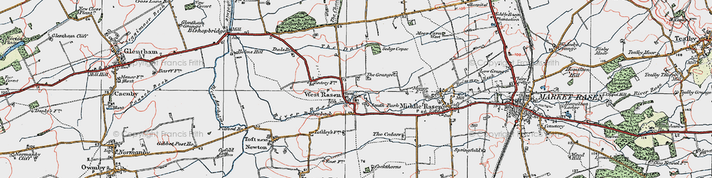 Old map of West Rasen in 1923