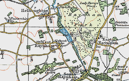 Old map of West Raynham in 1921