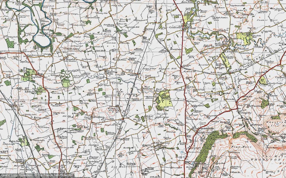 Old Map of West Rounton, 1925 in 1925