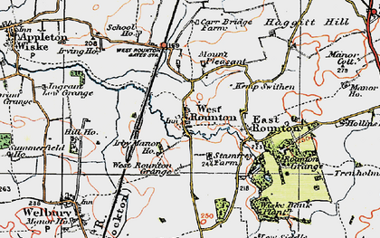 Old map of West Rounton Grange in 1925