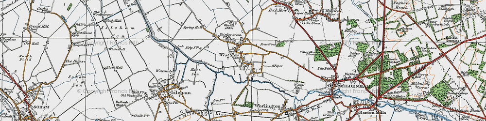 Old map of West Row in 1920