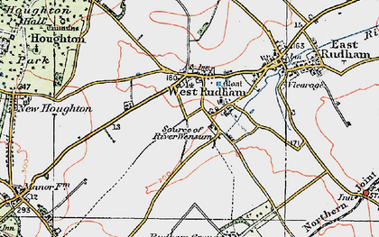Old map of West Rudham in 1921