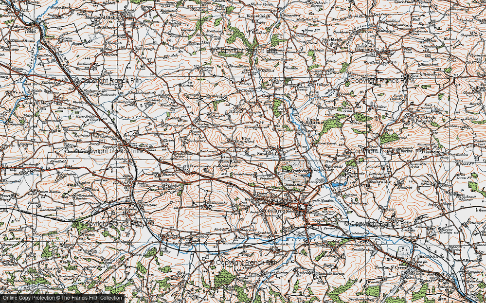 Old Map of Historic Map covering Aller Barton in 1919