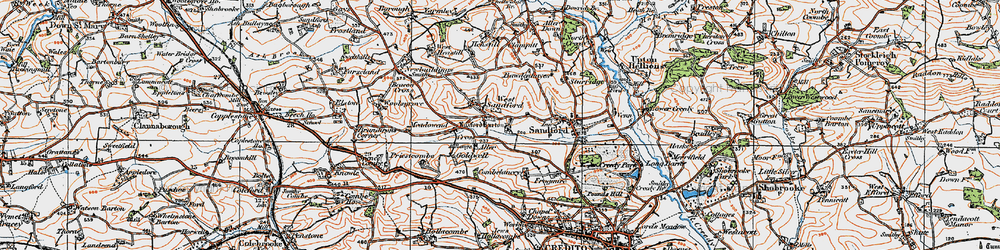 Old map of Aller Barton in 1919