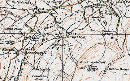 Old map of West Scrafton in 1925