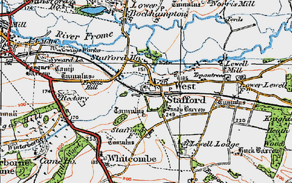 Old map of West Stafford in 1919