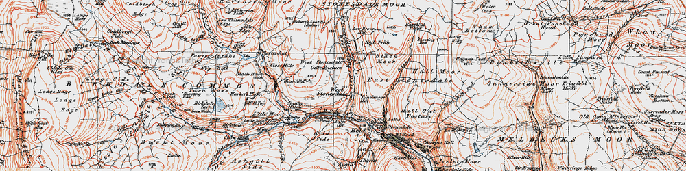 Old map of West Stones Dale in 1925
