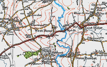 Old map of West Stour in 1919
