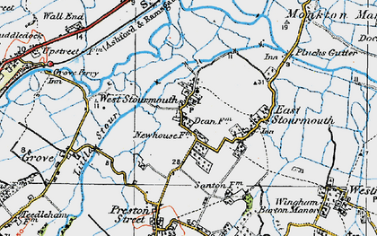 Old map of West Stourmouth in 1920