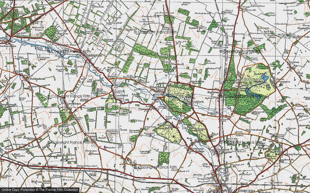Old Map of Historic Map covering Ash Carr in 1920