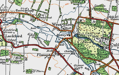 Old map of West Stow in 1920