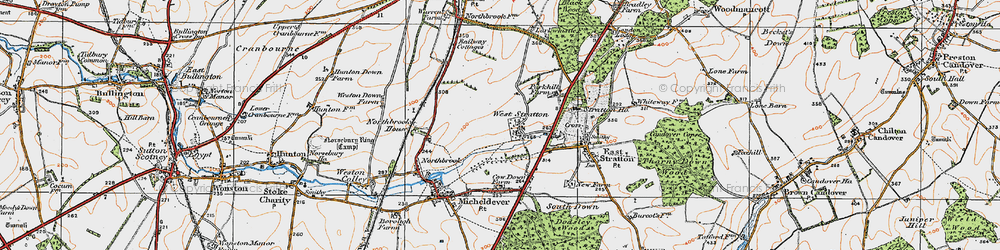 Old map of West Stratton in 1919