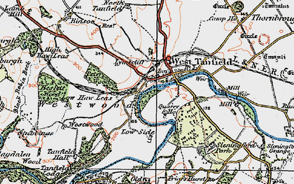 Old map of West Tanfield in 1925