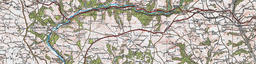 Old map of West Taphouse in 1919