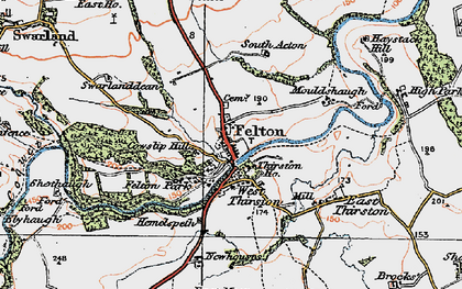 Old map of West Thirston in 1925