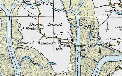 Old map of West Thorney in 1919