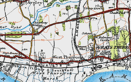 Old map of West Thurrock in 1920