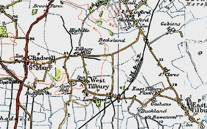 Old map of West Tilbury in 1920
