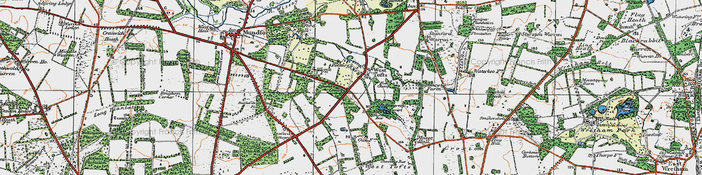 Old map of West Tofts Heath in 1920