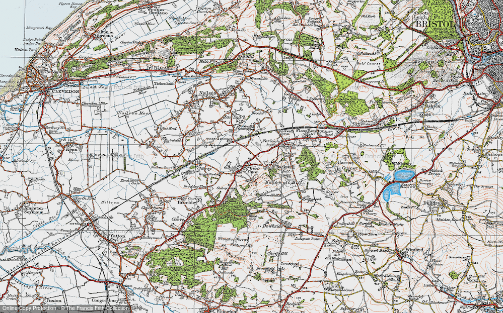 Old Map of Historic Map covering Backwell Hill in 1919