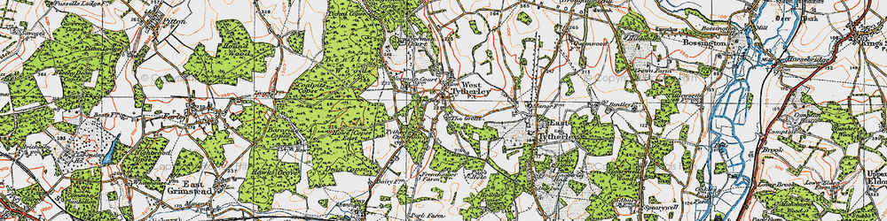 Old map of West Tytherley in 1919