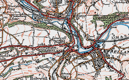 Old map of West Vale in 1925