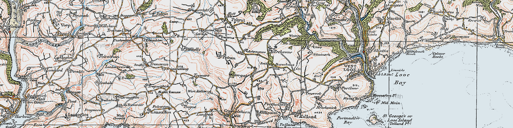 Old map of West Watergate in 1919