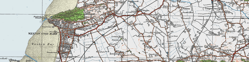 Old map of West Wick in 1919