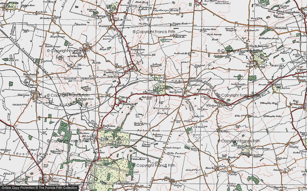 Old Map of Historic Map covering Willoughby Heath in 1922