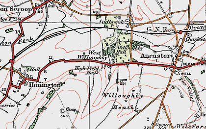 Old map of Willoughby Heath in 1922