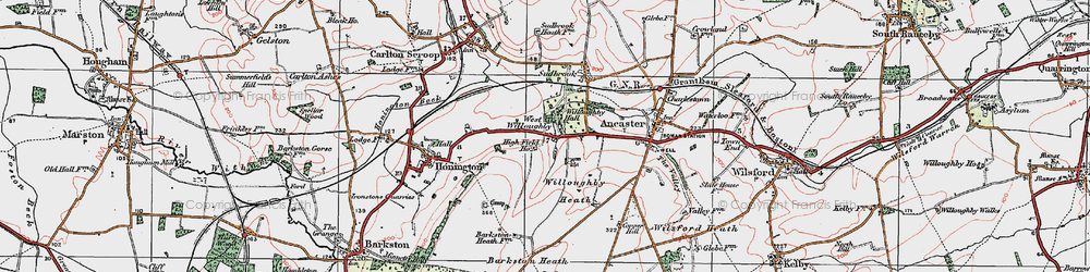 Old map of West Willoughby in 1922