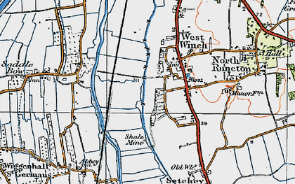Old map of West Winch in 1922