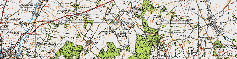 Old map of West Winterslow in 1919
