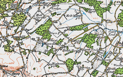 Old map of West Woodhay in 1919