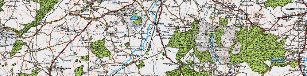 Old map of West Woodlands in 1919