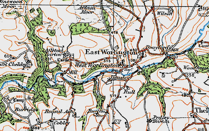 Old map of West Worlington in 1919
