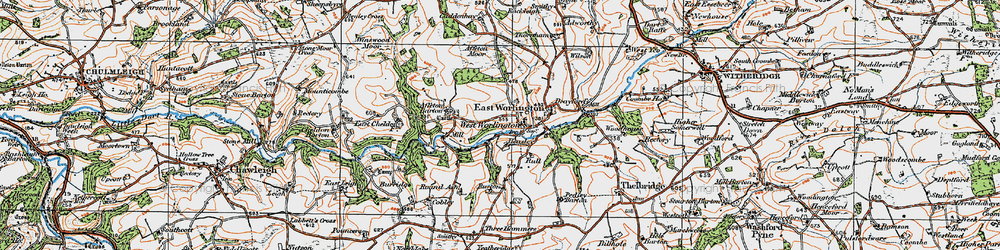 Old map of Affeton Moor in 1919