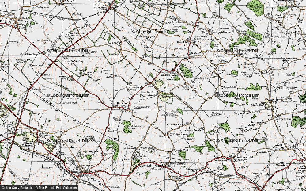 Old Map of West Wratting, 1920 in 1920