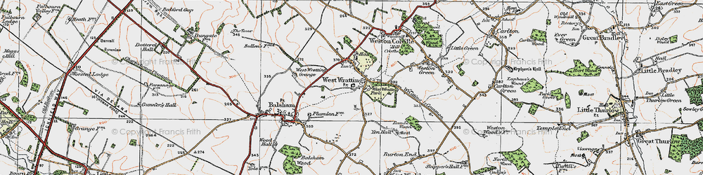 Old map of West Wratting Park in 1920