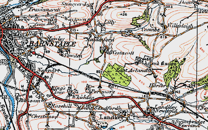 Old map of Westacott in 1919